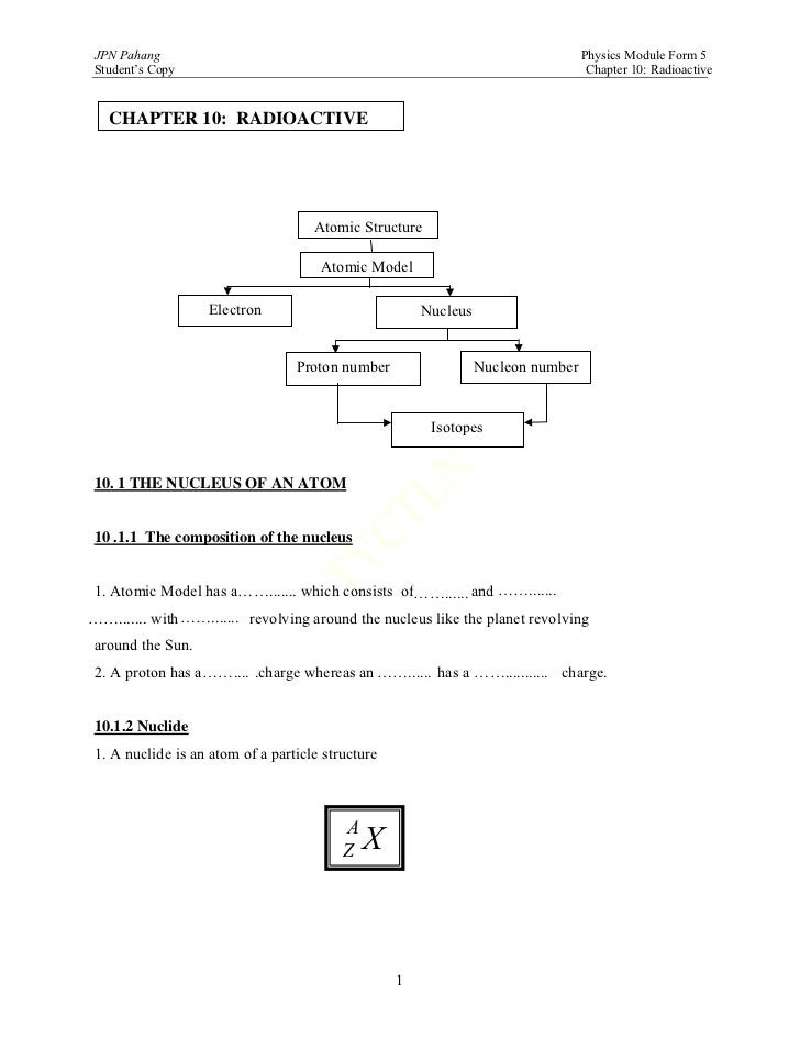 SPM PHYSICS FORM 5  radioactivity