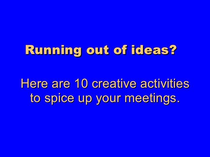 10 Sales Meeting Ideas