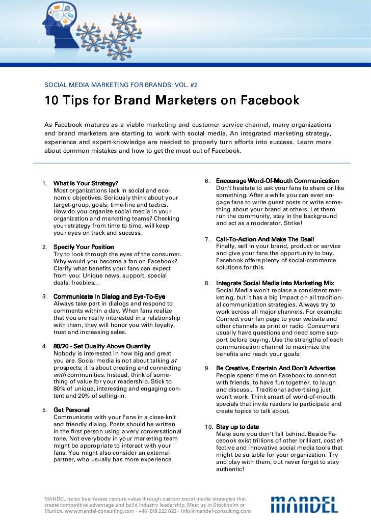 SOCIAL MEDIA MARKETING FOR BRANDS: VOL. #210 Tips for Brand Marketers on Facebook        forAs Facebook matures as a viabl...