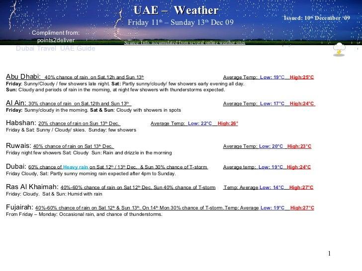 UAE Weather Update - 11-13 Dec 2009