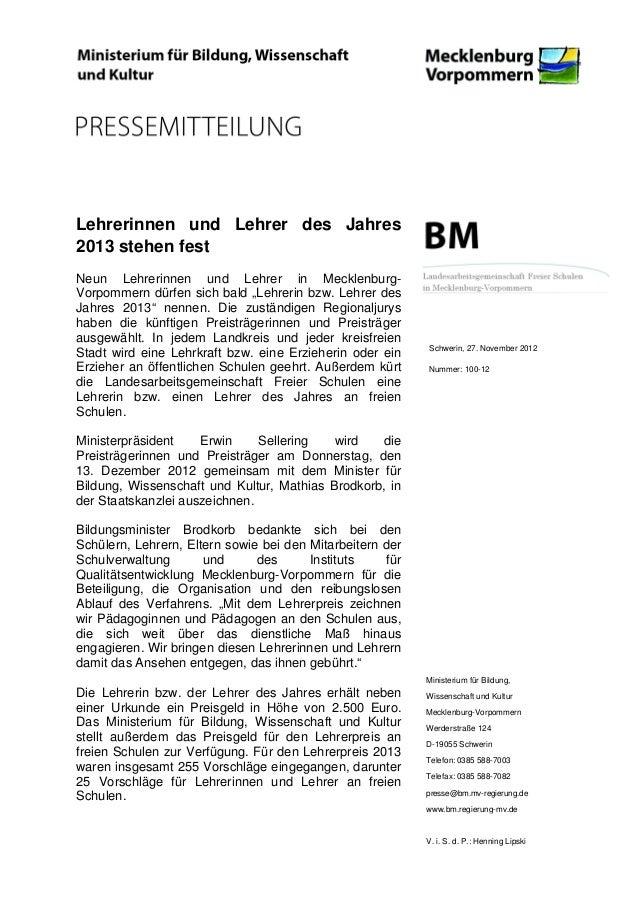 """Lehrerinnen und Lehrer des Jahres2013 stehen festNeun Lehrerinnen und Lehrer in Mecklenburg-Vorpommern dürfen sich bald """"L..."""