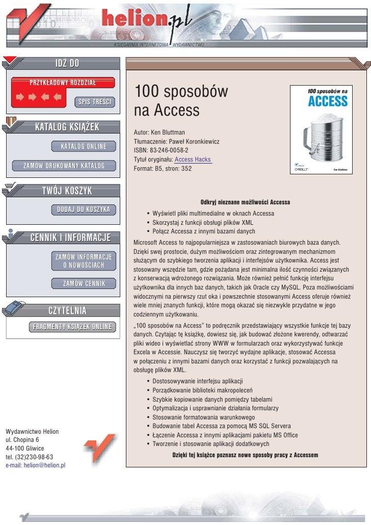 100 sposobów na Access