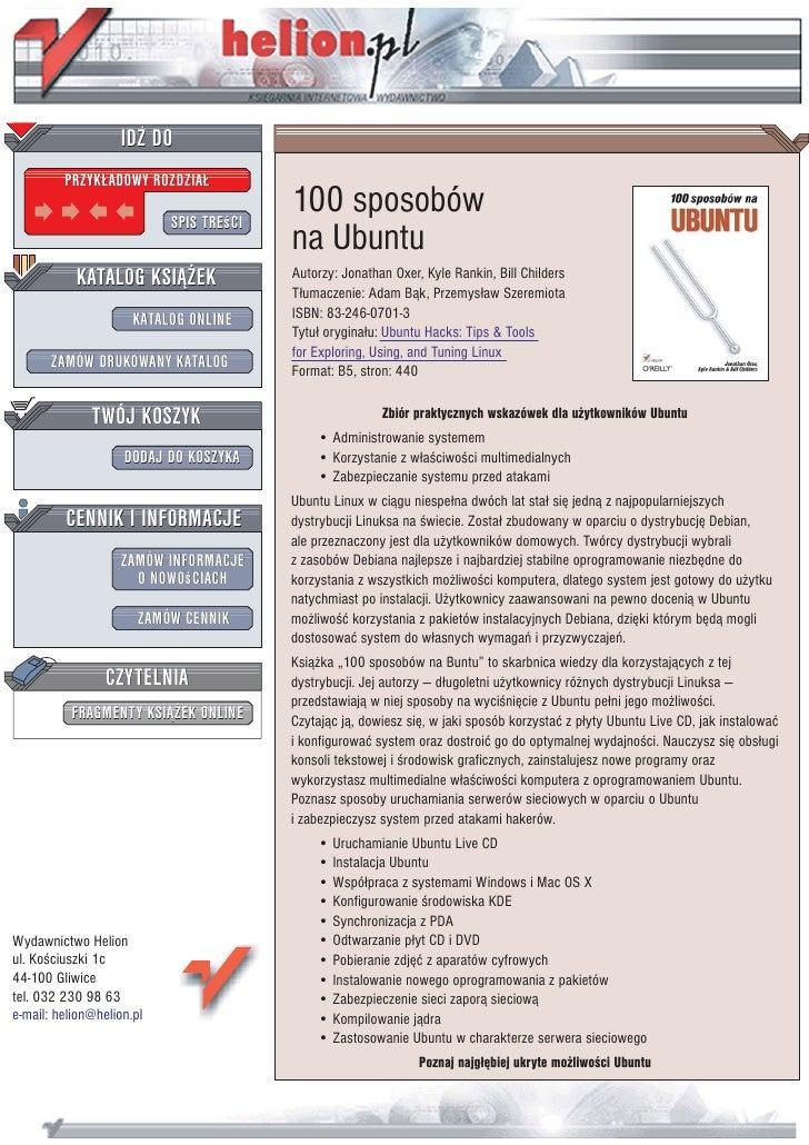 IDZ DO          PRZYK£ADOWY ROZDZIA£                             SPIS TREœCI                                          100 ...