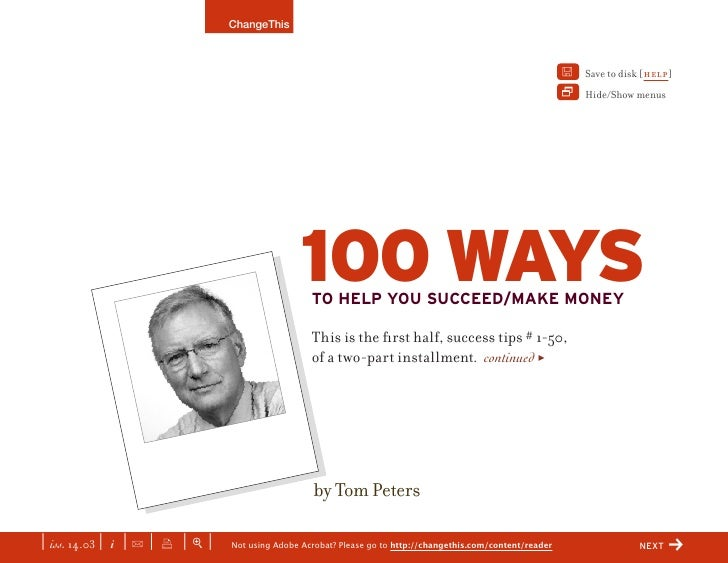 100 Ways To Succeed By Tom Peters