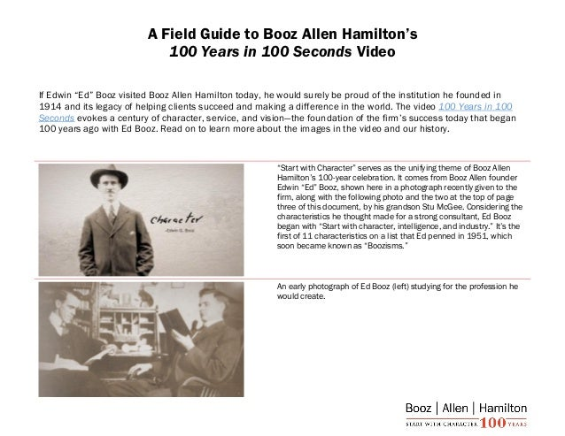 "The Field Guide to Booz Allen Hamilton's ""100 Years In 100 Seconds"" video"