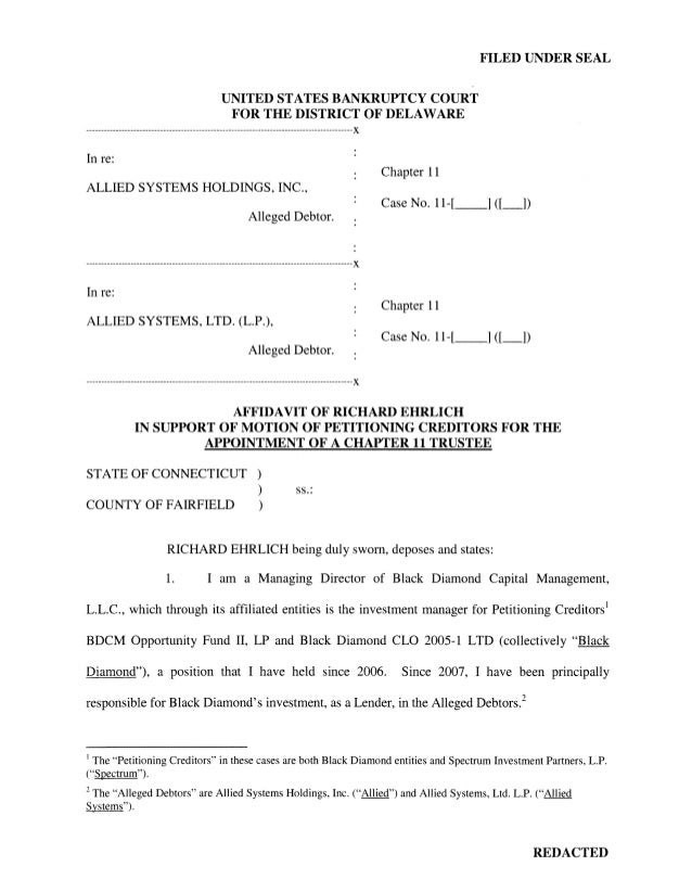 FILED UNDER SEAL                                            UNITED STATES BANKRUPTCY COURT                                ...