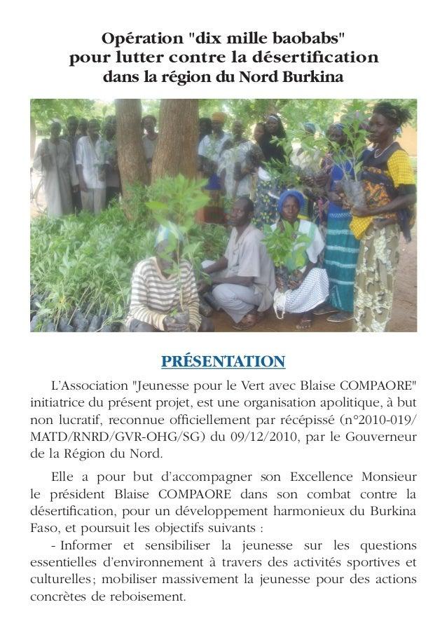 """Opération """"dix mille baobabs""""      pour lutter contre la désertification         dans la région du Nord Burkina           ..."""