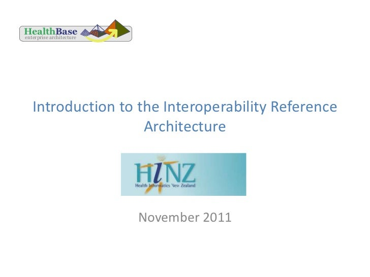 HealthBaseenterprise architecture   Introduction to the Interoperability Reference                    Architecture        ...