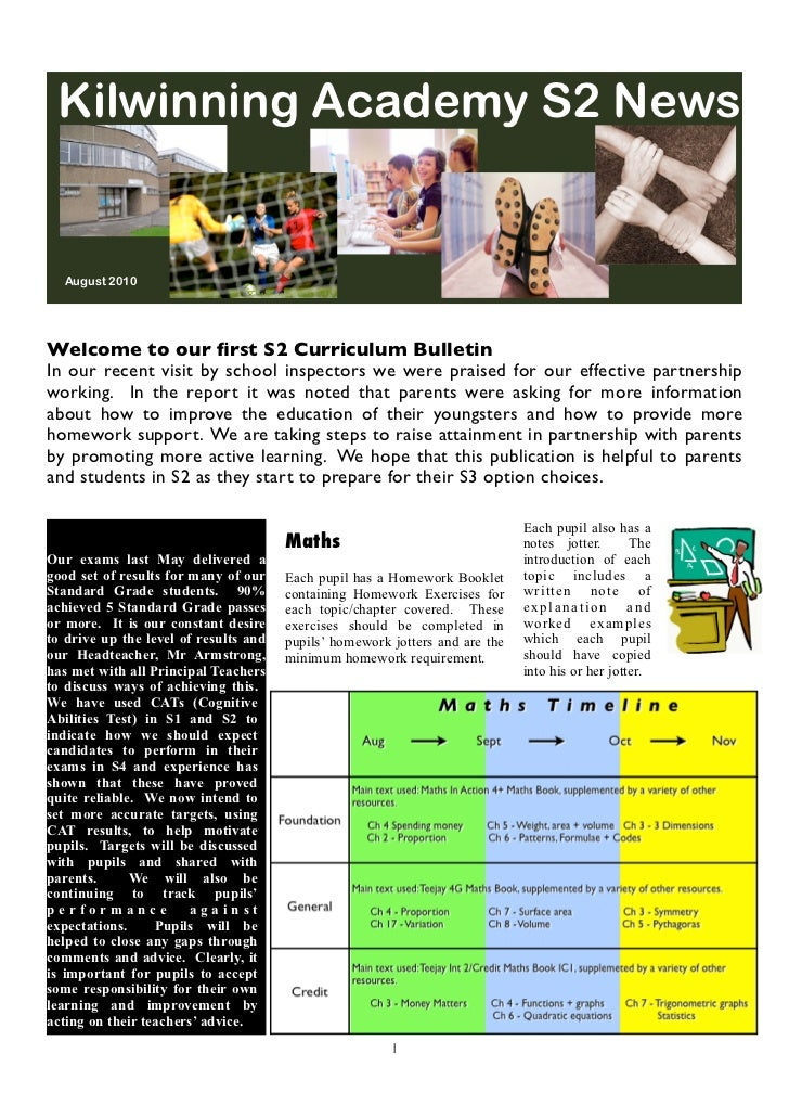 Kilwinning Academy S2 News  August 2010Welcome to our first S2 Curriculum BulletinIn our recent visit by school inspectors ...