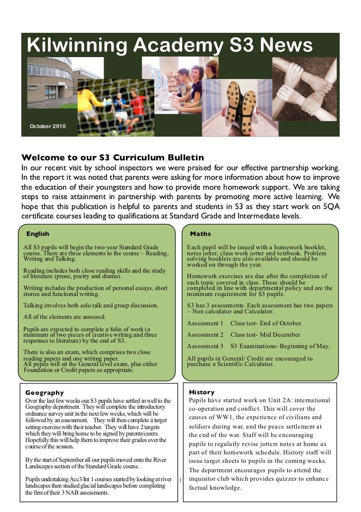 Kilwinning Academy S3 News  October 2010Welcome to our S3 Curriculum BulletinIn our recent visit by school inspectors we w...