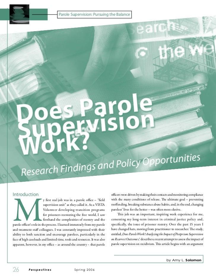 Parole Supervision: Pursuing the BalanceMIntroduction                                                                 offi...
