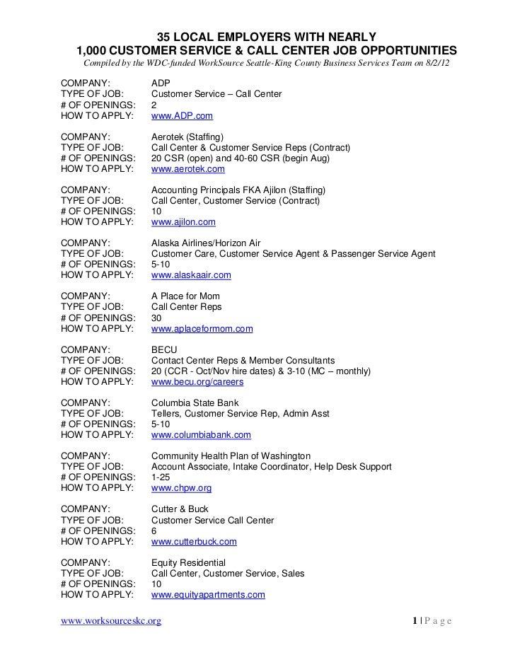 1,000 customer service & call center jobs in Seattle area 8 2-12