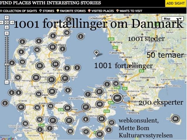 side kort 1 1001 steder 1001 fortællinger 50 temaer 200 eksperter 1001 fortællinger om Danmark webkonsulent, Mette Bom Kul...