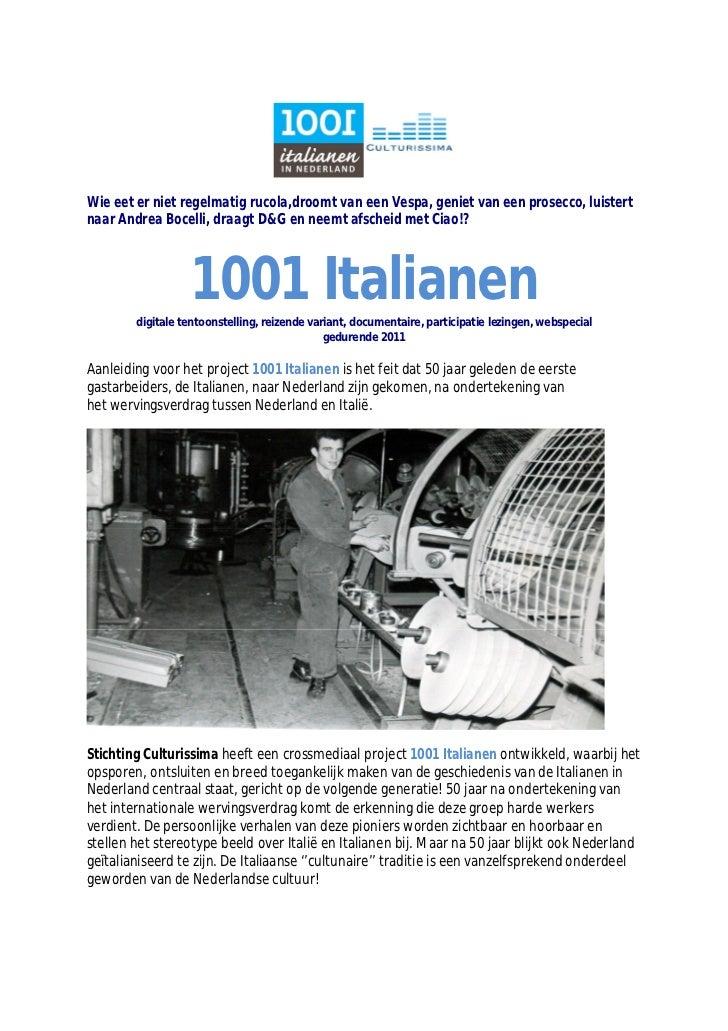1001 Italianen In Nederland - Sponsordocument 2011