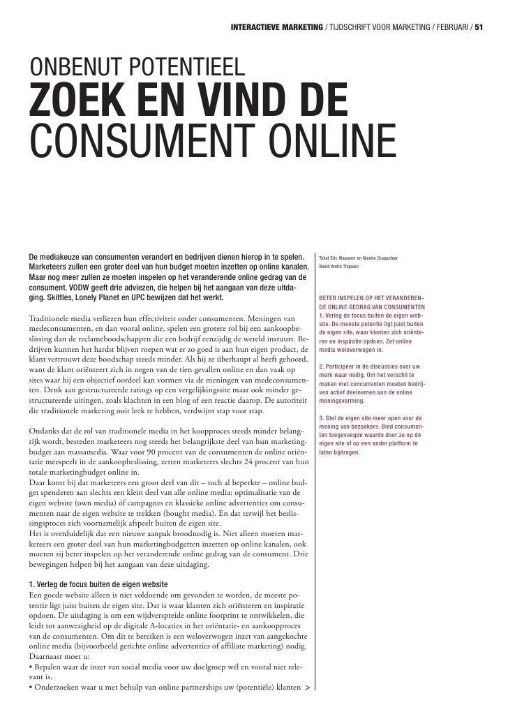 Tijdschrift voor Marketing: Onbenut potentieel - zoek en vind de consument online