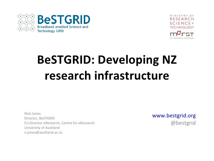 BeSTGRID: Developing NZ research infrastructure www.bestgrid.org @bestgrid Nick Jones Director, BeSTGRID Co-Director eRese...