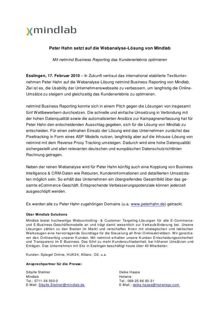 Pressrelease - new customer Peter Hahn