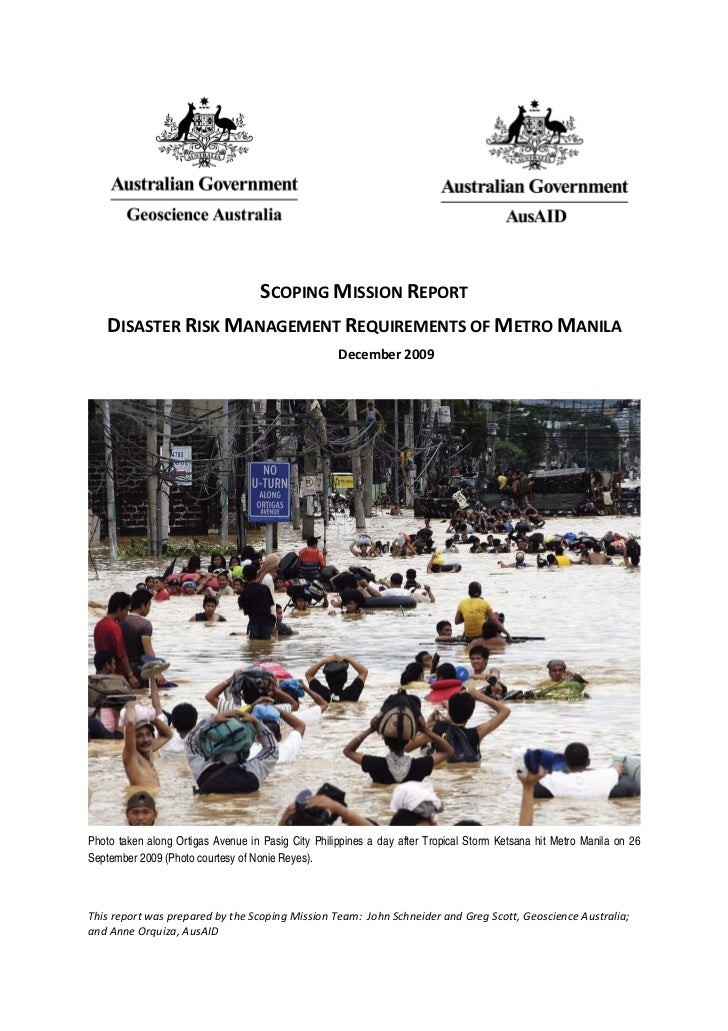 Disaster Risk Management Needs of Metro Manila: A Scoping Report