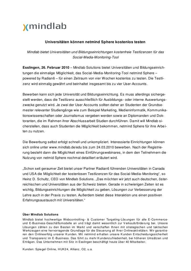 Ausschreibung kostenloser Testlizenzen von netmind Sphere - powered by Radian6 für Universitäten
