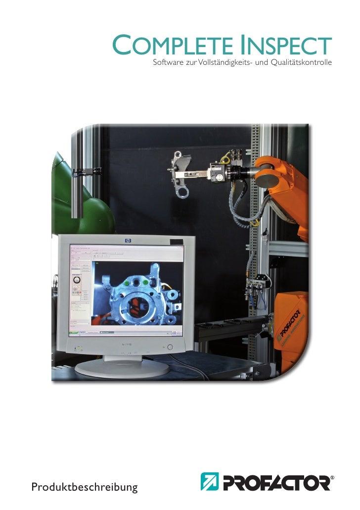 COMPLETE INSPECT                       Software zur Vollständigkeits- und Qualitätskontrolle     Produktbeschreibung