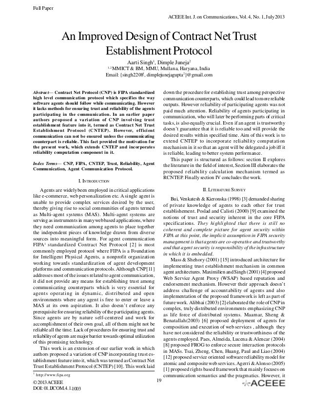 Full Paper ACEEE Int. J. on Communications, Vol. 4, No. 1, July 2013  An Improved Design of Contract Net Trust Establishme...