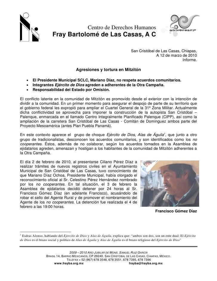 Centro de Derechos Humanos                       Fray Bartolomé de Las Casas, A C                                         ...