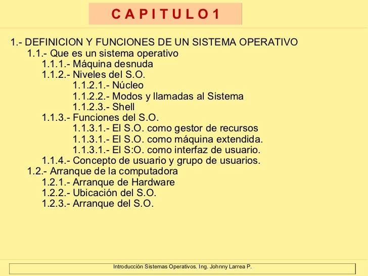 <ul><li>1.- DEFINICION Y FUNCIONES DE UN SISTEMA OPERATIVO </li></ul><ul><ul><li>1.1.- Que es un sistema operativo </li></...
