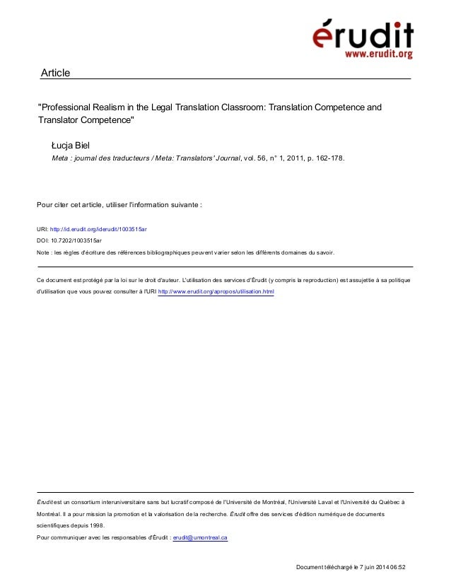 Professional Realism in the Legal Translation Classroom: Translation Competence and Translator Competence