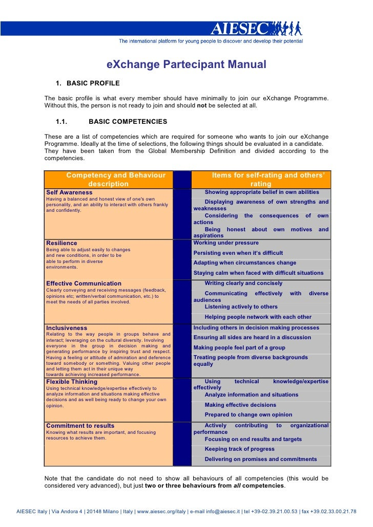eXchange Partecipant Manual                 1. BASIC PROFILE              The basic profile is what every member should ha...