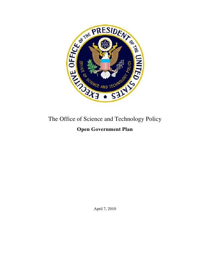 OSTP Open Gov Plan