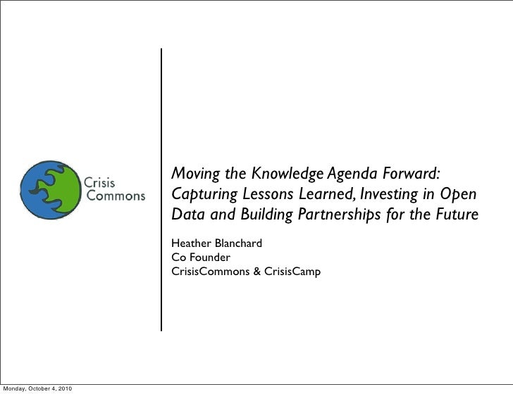 Moving the Knowledge Agenda Forward:                           Capturing Lessons Learned, Investing in Open               ...