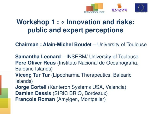 Workshop 1 : « Innovation and risks: public and expert perceptions Chairman : Alain-Michel Boudet – University of Toulouse...