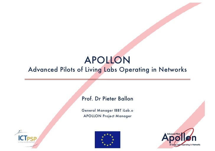 APOLLON Advanced Pilots of Living Labs Operating in Networks                     Prof. Dr Pieter Ballon                   ...