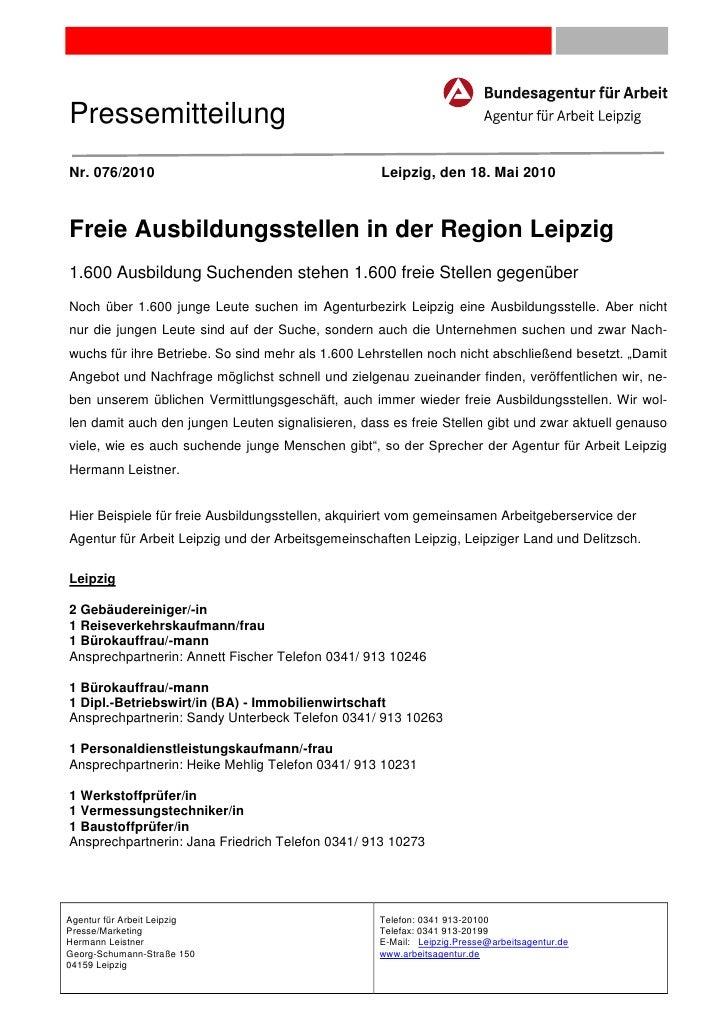 PressemitteilungNr. 076/2010                                       Leipzig, den 18. Mai 2010Freie Ausbildungsstellen in de...