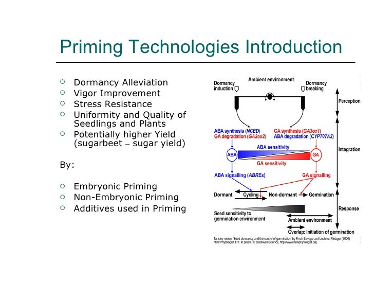 Priming Technologies Introduction <ul><li>Dormancy Alleviation </li></ul><ul><li>Vigor Improvement </li></ul><ul><li>Stres...
