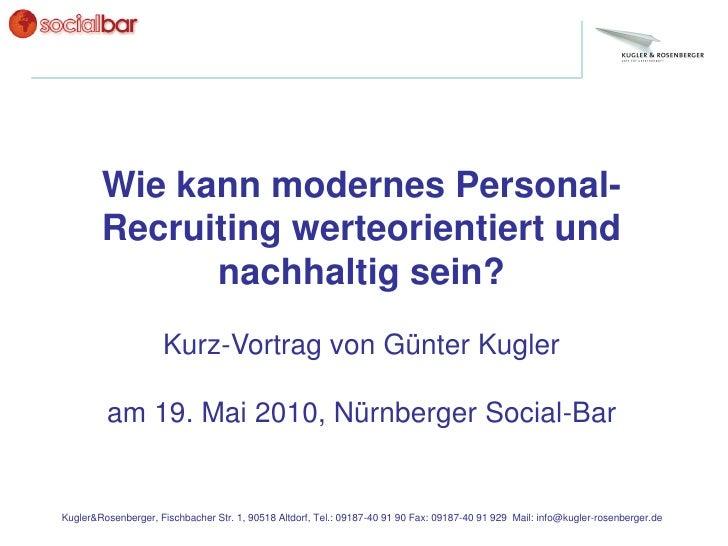 Wie kann modernes Personal-         Recruiting werteorientiert und               nachhaltig sein?                      Kur...