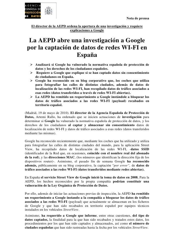 Nota de prensa      El director de la AEPD ordena la apertura de una investigación y requiere                             ...
