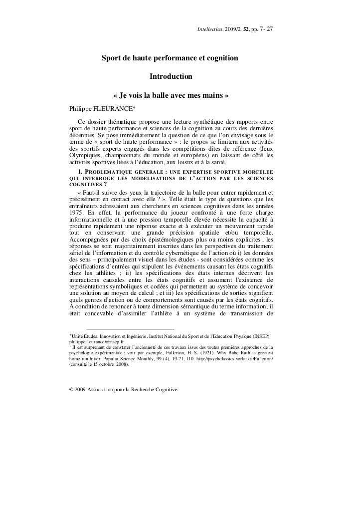 Intellectica, 2009/2, 52, pp. 7- 27                Sport de haute performance et cognition                                ...