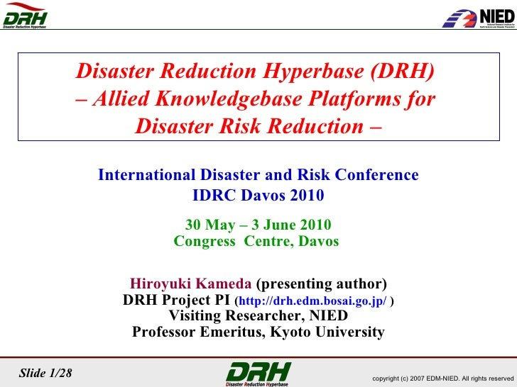 Disaster Reduction Hyperbase (DRH)  –  Allied Knowledgebase Platforms for  Disaster Risk Reduction – International Disaste...