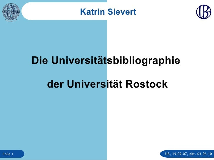 Die Universitätsbibliographie der Universität Rostock