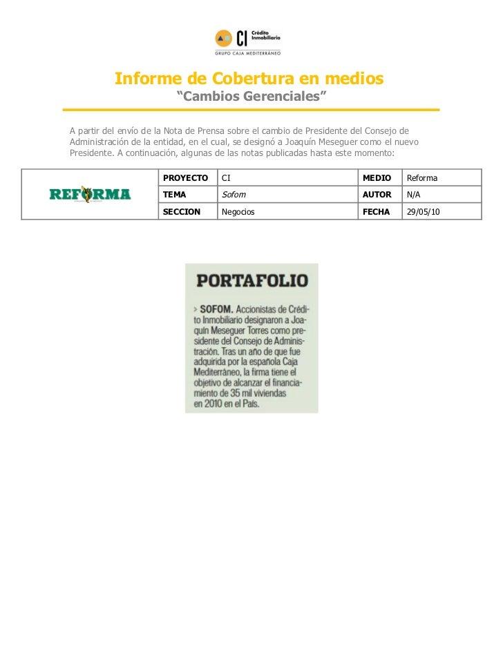 """Informe de Cobertura en medios                          """"Cambios Gerenciales""""A partir del envío de la Nota de Prensa sobre..."""