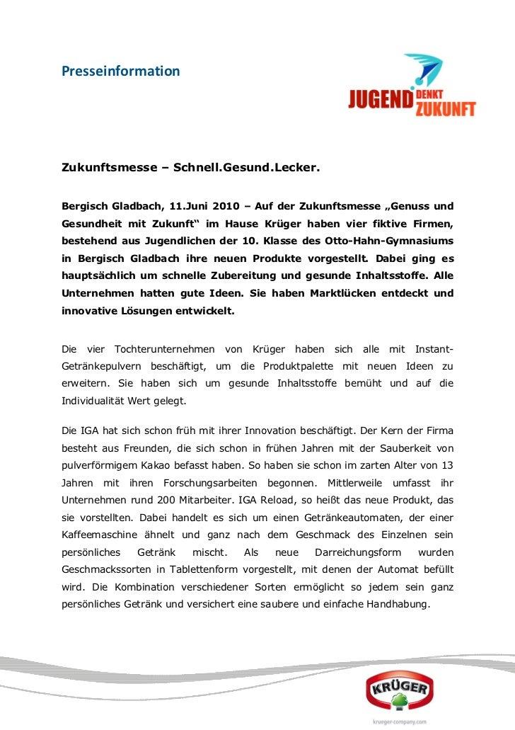 """PresseinformationZukunftsmesse – Schnell.Gesund.Lecker.Bergisch Gladbach, 11.Juni 2010 – Auf der Zukunftsmesse """"Genuss und..."""