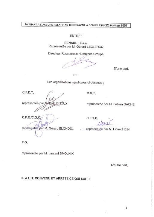 Avenant à l'accord télétravail de Renault
