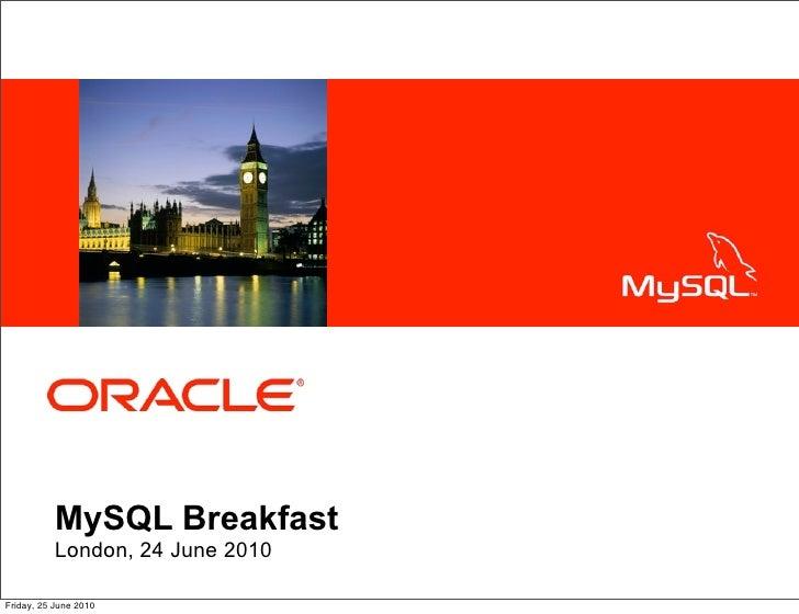 <Insert Picture Here>                MySQL Breakfast            London, 24 June 2010  Friday, 25 June 2010