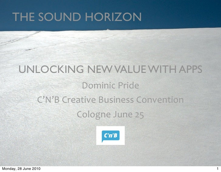 THE SOUND HORIZON            UNLOCKING NEW VALUE WITH APPS                                Dominic	   Pride                ...