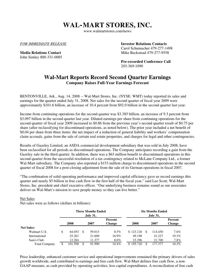 wal mart store Quarterly Earnings Releases2009