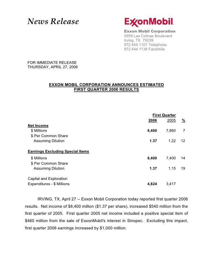 Exxon Mobil Corporation 1Q'06 Press Release