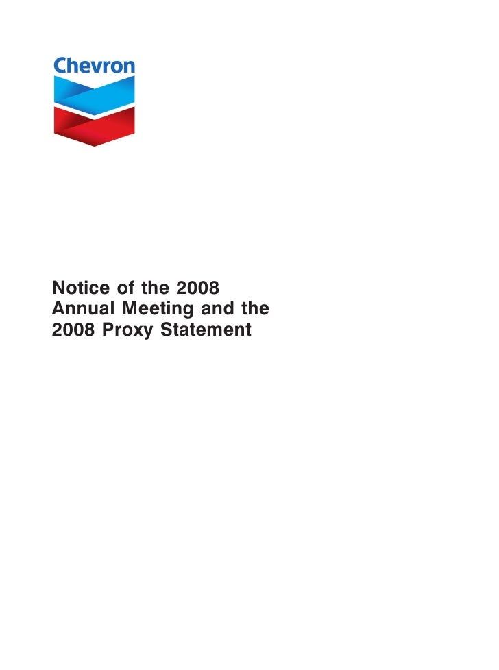chevron2008 Proxy Statement