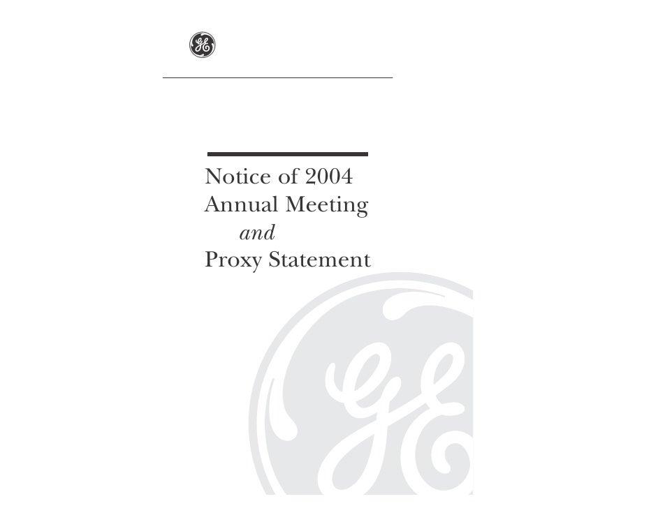 GE# 2004 Proxy Statement