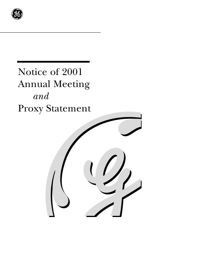 g   Notice of 2001 Annual Meeting    and Proxy Statement
